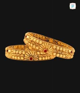 Marigold Motif Gold Bangles...