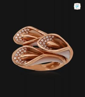 Tri Rosebud Diamond Ring -...