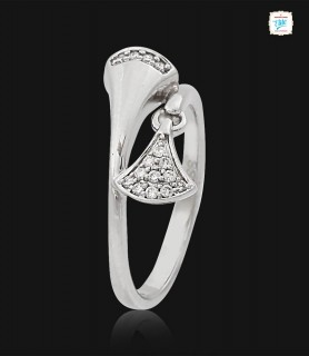 Duo Petal Platinum Ring -0779
