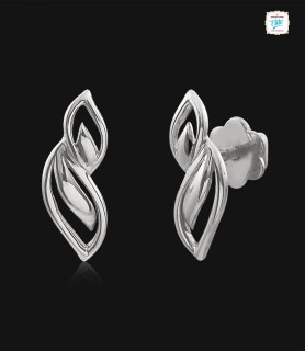 Duo Leaf Platinum Stud -0860