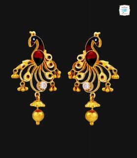 Peahen Cutout Gold Earrings...