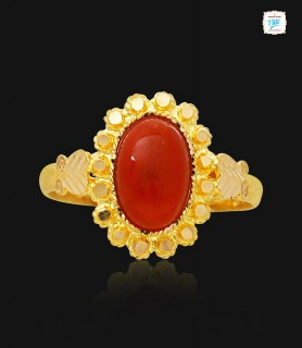 Red Coral Gold Ring - 0899