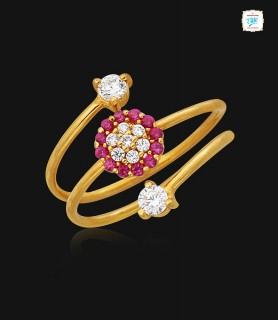 Spiral Floral Gold Ring - 0907
