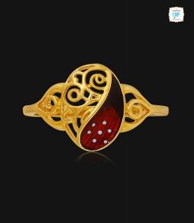 Pretty Coral Swirl Gold...