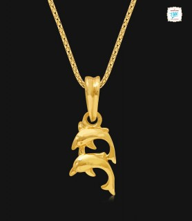 Twin Dolphin Gold Pendant -...