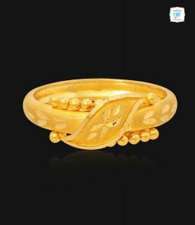 Trendy Leafy Gold Ring - 1109