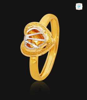 Heart Hessonite Gold Ring -...