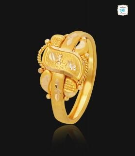 Leafy Motif Gold Ring - 1113