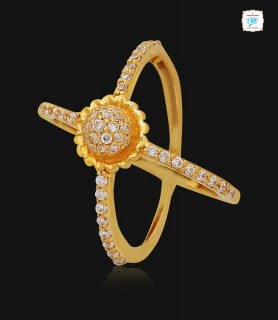 Twin Blended Gold Ring - 1125