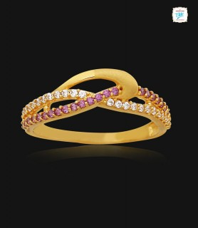 Twisted Stone Gold Ring - 1127