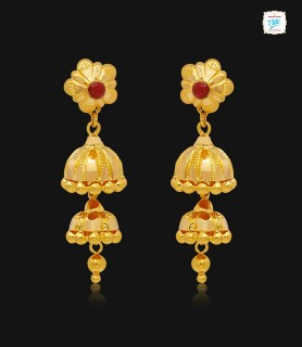 Duo Dome Drop Gold Jhumka-1145