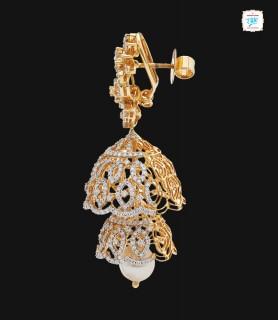 Betel Diamond Jhumka - 0071