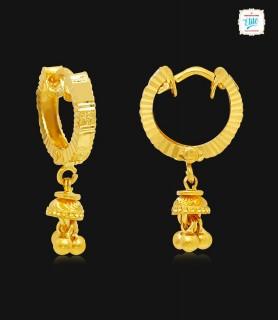 Elegant Cut Gold Hoops - 1753