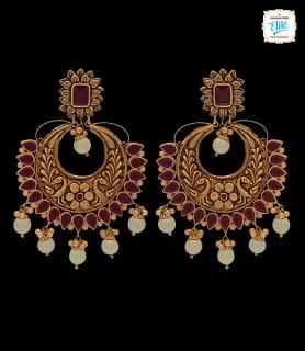 Elegant Ruby Chand Bali - 2497