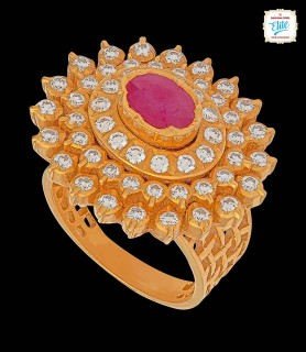 Coiled Ruby Diamond Ring -...