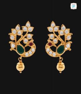Peacock Drop Earrings - 0229