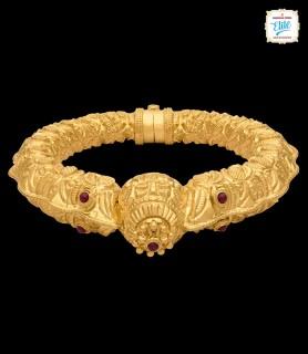 Bold Ethnic Gold Kada - 3275